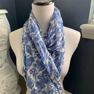 Chase Bank Uniform Infinity Blue Floral Scarf